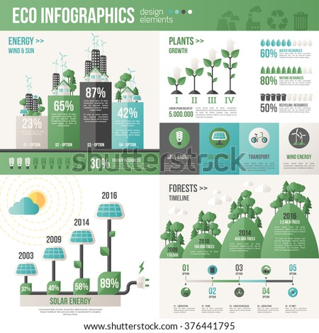 Ecology Infographics. Vector illustration. Environmental template with flat icons. Environmental protection and Pollution. Go green. Save the planet. Earth Day. Creative concept of Eco Technology. - stock vector