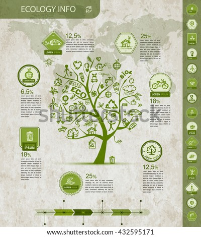Ecology infographics with green tree, sketch for yuor design. Vector illustration - stock vector