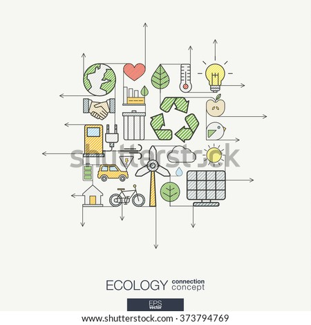 Ecology integrated thin line symbols. Modern color style vector concept, with connected flat design icons. Illustration for eco friendly, energy, environment, green, recycle, bio and global concepts. - stock vector