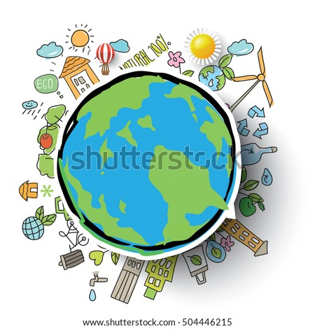 Ecology integrated thin line symbols. Modern color with hand drawn style vector concept, with the Globe