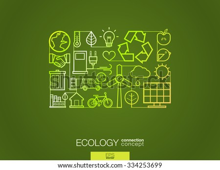 Ecology integrated thin line symbols. Modern linear style vector concept, with connected flat design icons. Illustration for eco friendly, energy, environment, green, recycle, bio and global concepts. - stock vector