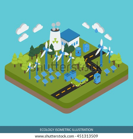 Ecology isometric design with industrial area car on road green energy biofuel on blue background vector illustration - stock vector