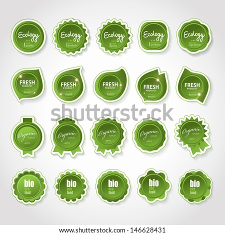 Ecology Labels Set - Isolated On Gray Background. Vector illustration, Graphic Design Editable For Your Design.  - stock vector