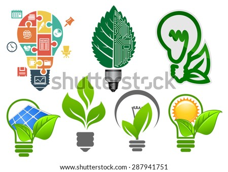 Ecology light bulbs symbols with abstract lamps, computer motherboard, green leaves, sun, solar panel and business icons puzzle, for environment or save energy concept design - stock vector