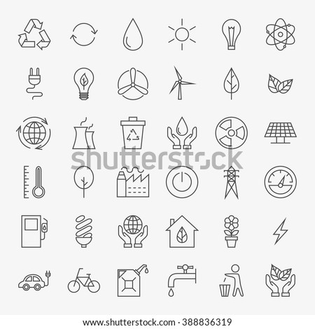 Ecology Line Art Design Icons Big Set. Vector Set of Modern Thin Outline Icons for Green Energy Eco Friendly Items. - stock vector