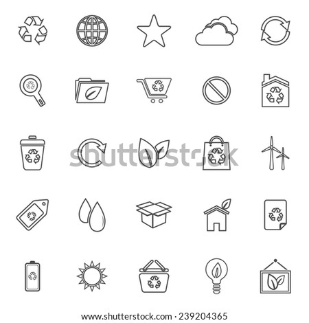 Ecology line icons on white background, stock vector - stock vector