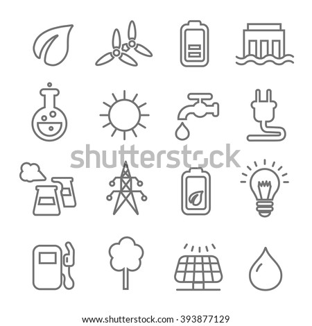 Ecology line Icons wind nuclear and solar power or renewable green energy vector - stock vector