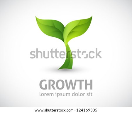 ecology logo - green design - growth vector illustration - stock vector