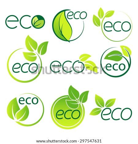 Ecology  logo symbol set vector - stock vector