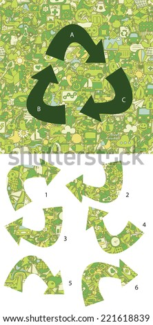 Ecology Match pieces, visual game. Solution in hidden layer! Illustration is in eps8 vector mode! Each elements are isolated and on separate layers. - stock vector