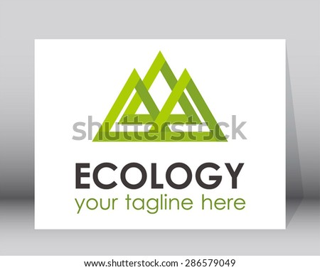 Ecology natural mountain triple triangle logo element line design vector shape symbol icon template abstract - stock vector