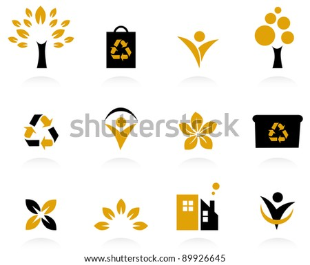 Ecology, nature and environment icons set isolated on white - retro - stock vector