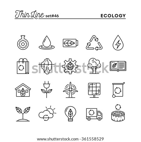 Ecology, nature, clean energy, recycling and more, thin line icons set, vector illustration - stock vector