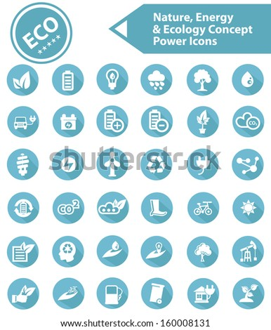 Ecology,Nature & Energy icons,Blue version,vector - stock vector