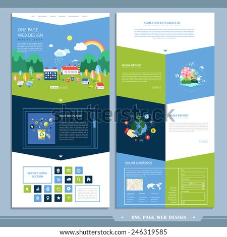 ecology one page website design in flat design - stock vector