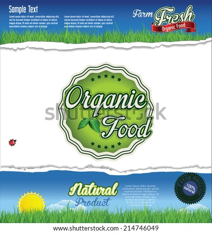 Ecology organic food background - stock vector