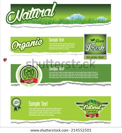 Ecology, organic, nature green banner collection - stock vector