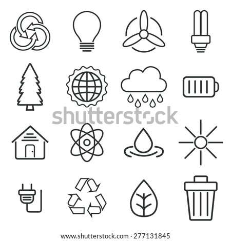 Ecology outline icons with White Background - stock vector
