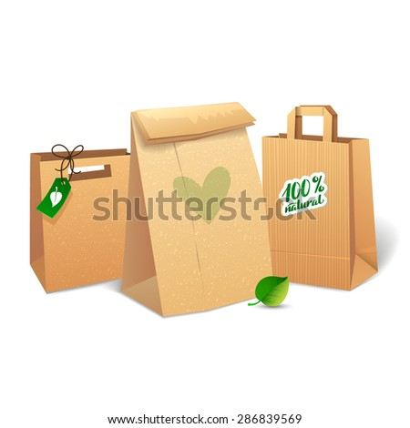 Ecology paper shopping bag vector illustration on white BACKGROUND. Brown paper bags with recycle symbol. Textured effect. - stock vector