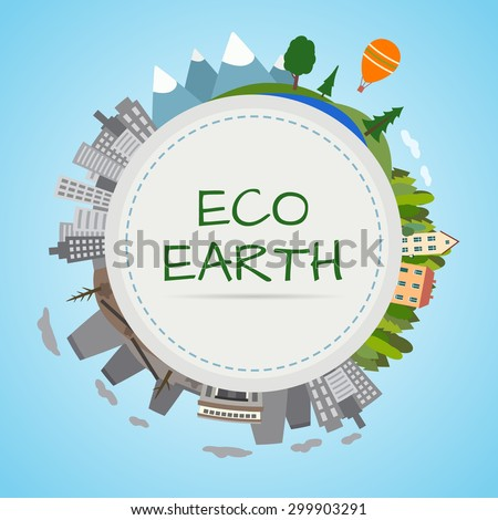 Ecology planet. Earth divided into two parts, an eco-friendly city and the forest and polluted city and factories. Flat style vector illustration. - stock vector