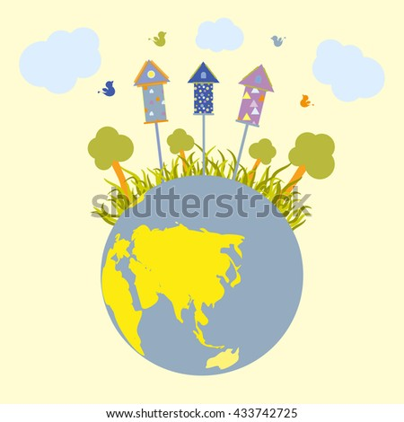 Ecology planet vector illustration. - stock vector