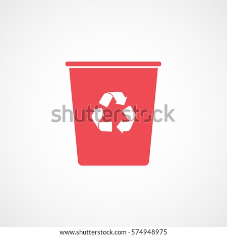 Ecology Plastic Cup With Recycle Sign Red Flat Icon On White Background