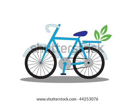 Ecology poster: go green with bicycle, vector illustration - stock vector