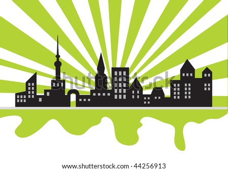 Ecology poster: make a city green, vector illustration - stock vector