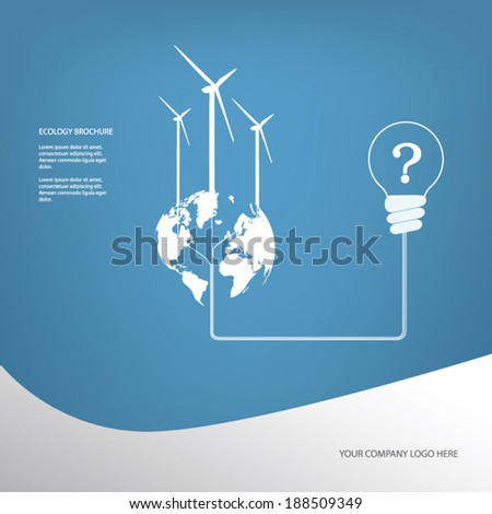 Ecology poster or flyer with wind turbines on blue background with infographics menu options. Eps10 vector illustration - stock vector