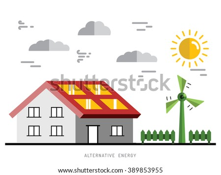 Ecology power concept. New energy type. Alternative energy. Alternative wind energy station. Global wind day 15 jun. Ecology concept. Eco energy concept outline. Alternative energy type. - stock vector