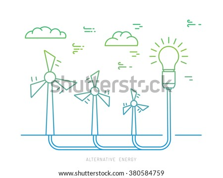 Ecology power concept. New energy type. Alternative energy. Alternative wind energy station. New eco energy vector illustration. Ecology concept.Global wind day 15 jun. Alternative energy type. - stock vector