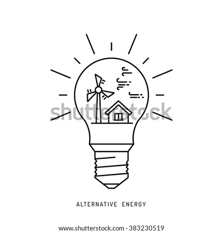 Ecology power concept. New energy type. Alternative energy. Alternative wind energy station. New eco energy vector illustration. Ecology concept. Eco energy concept outline. Alternative energy type. - stock vector