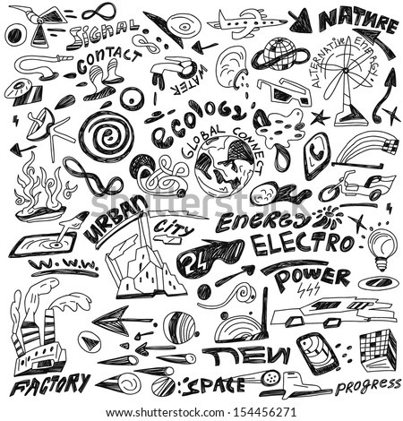 ecology , progress , energy - doodles collection