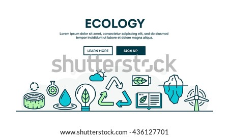 Ecology, recycling, environment, sustainability, colorful concept header, flat design thin line style, vector illustration - stock vector