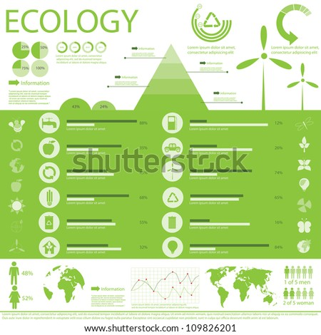 Ecology, recycling info graphics collection, charts, symbols, graphic vector elements - stock vector
