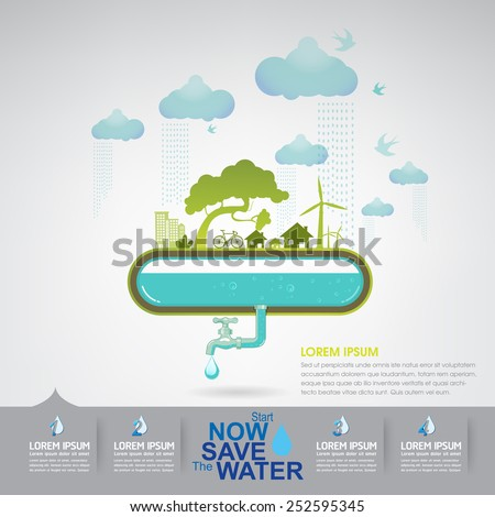 Ecology Save The Water - stock vector