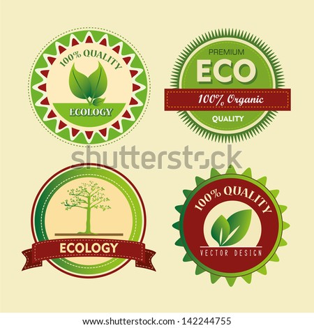 ecology seals over cream background vector illustration