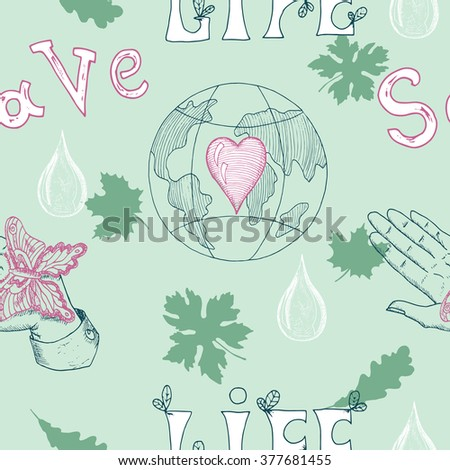 Ecology seamless background with human hand, butterfly, leaves and Earth globe with heart.  Hand drawn line art and doodle eco symbols, green world concept, environment protection theme - stock vector
