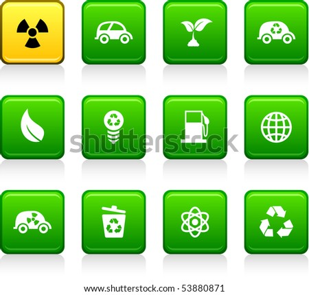 Ecology set of square color icons.