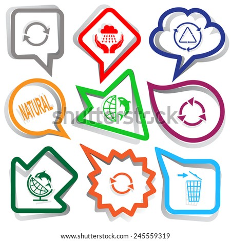 Ecology set. Paper stickers. Vector illustration. - stock vector