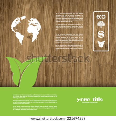 Ecology signs and symbols on a wood textured background - stock vector