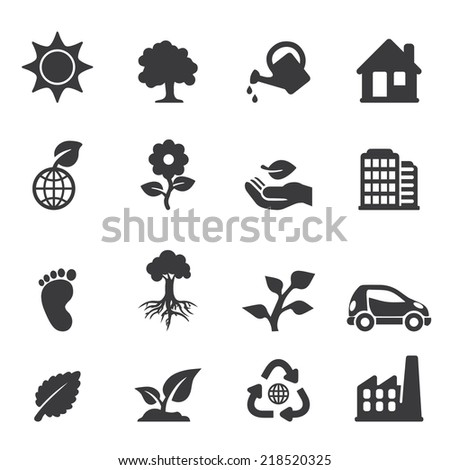 Ecology Silhouette icons - stock vector