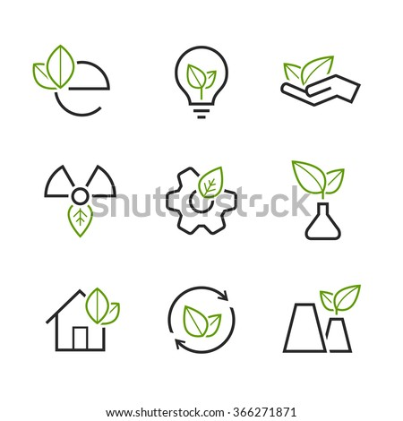 Ecology simple vector icon set - green leaves, palm, bulb, wheel, house, plant, sprout, and others symbols