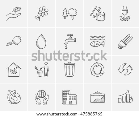 Ecology sketch icon set for web, mobile and infographics. Hand drawn ecology icon set. Ecology vector icon set. Ecology icon set isolated on white background.