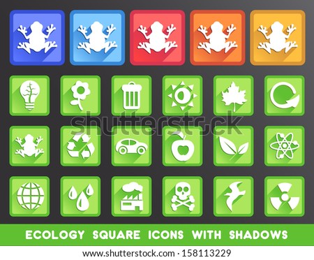 Ecology Square Icons with Shadows.
