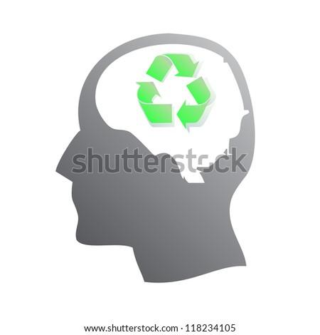 Ecology symbol in human head - stock vector
