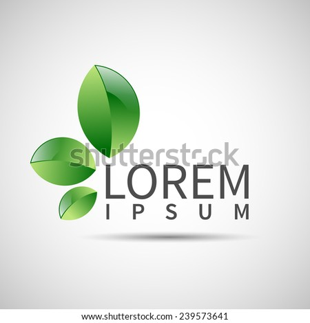 Ecology symbol leaf vector abstract plant icon - stock vector
