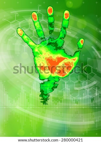 Ecology technology concept. thermal hand print, chemical formulas, radial HUD elements and green bokeh abstract light background. vector illustration. eps10 - stock vector