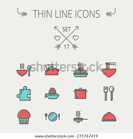 Ecology thin line icon set for web and mobile. Set includes- cupcakes, spoon and fork, plate, kettle, casserole, hot meal, frying pan icons. Modern minimalistic flat design. Vector icon with dark grey - stock vector
