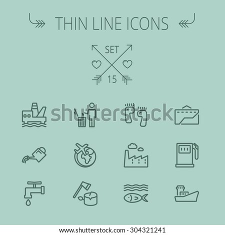 Ecology thin line icon set for web and mobile. Set includes-gasoline pump, fish, ship, garbage bin,watering can, faucet, global icons. Modern minimalistic flat design. Vector dark grey icon on grey - stock vector